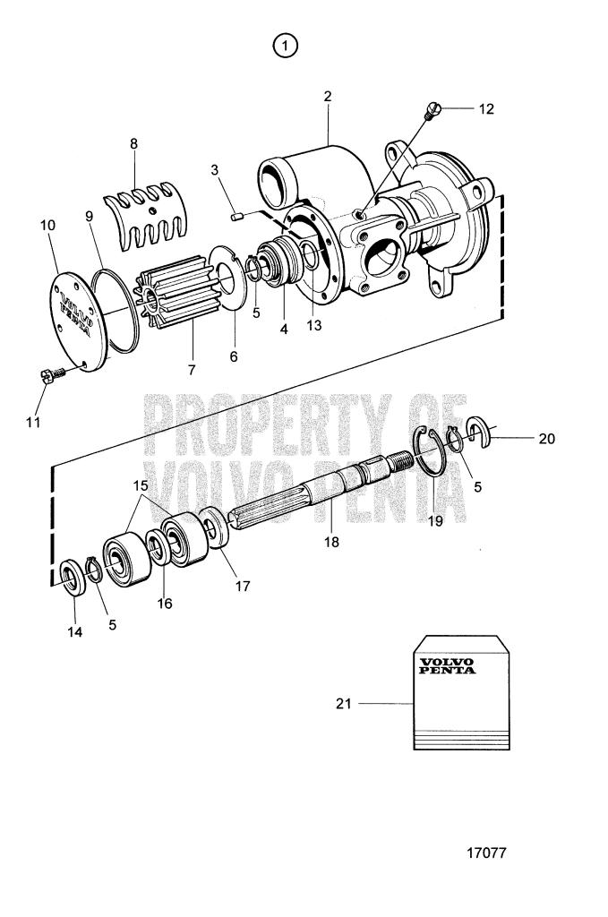 sea water pump ponents 3830699 tamd74a tamd74a a tamd74a b 2000 Volvo Penta 5.0 sea water pump ponents 3830699