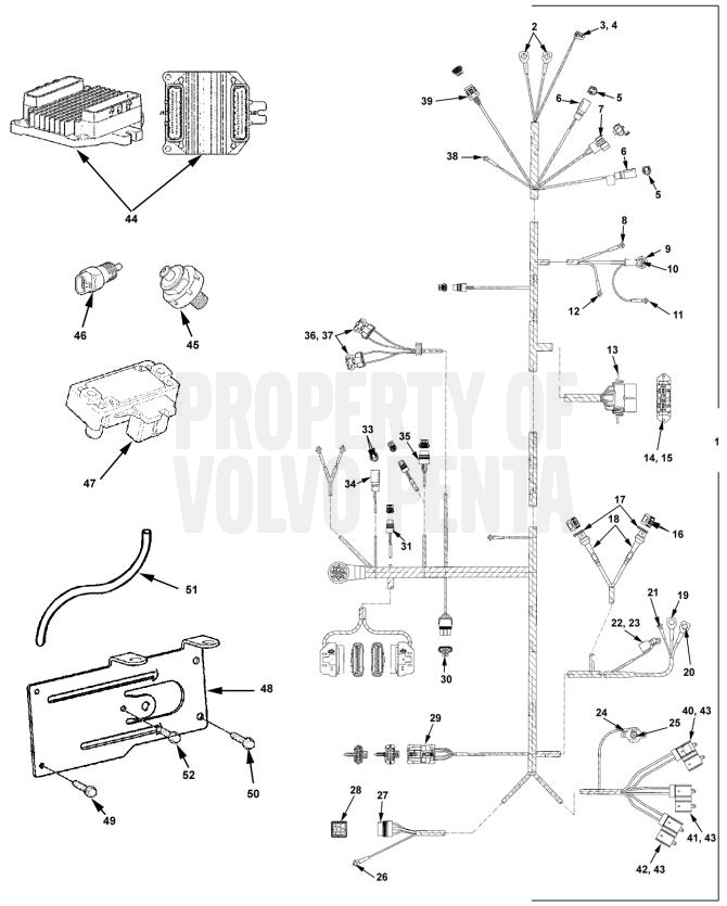 12603_4 engine harness 5 0gipefs, 5 7gsipefs 7797478 volvopentastore com volvo penta wiring harness diagram at edmiracle.co