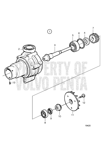 Water Pump, Components: 8149980