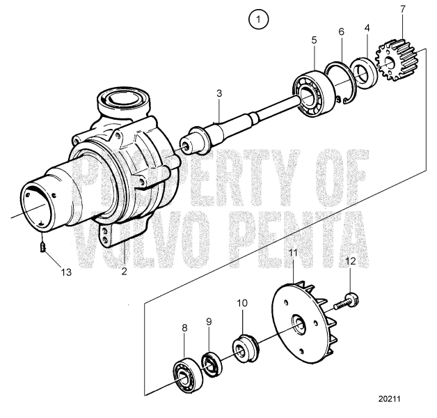 Water Pump, Components: 1556330