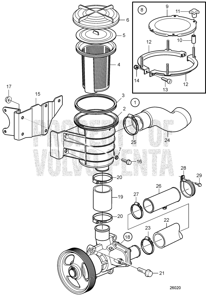 26020_1 sea water pump and sea water filter for engines with drive d4 210a a