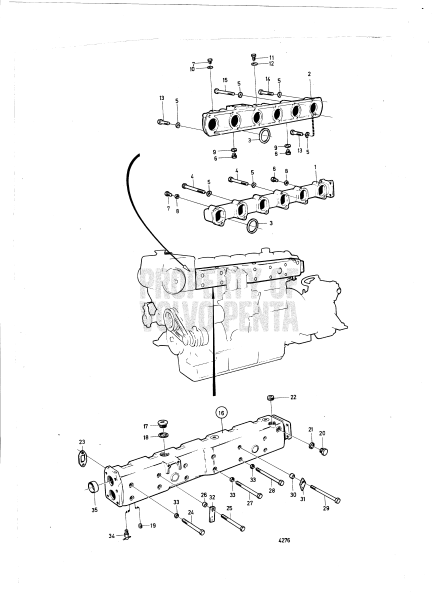 induction and exhaust manifold with installation components  c md100b   c