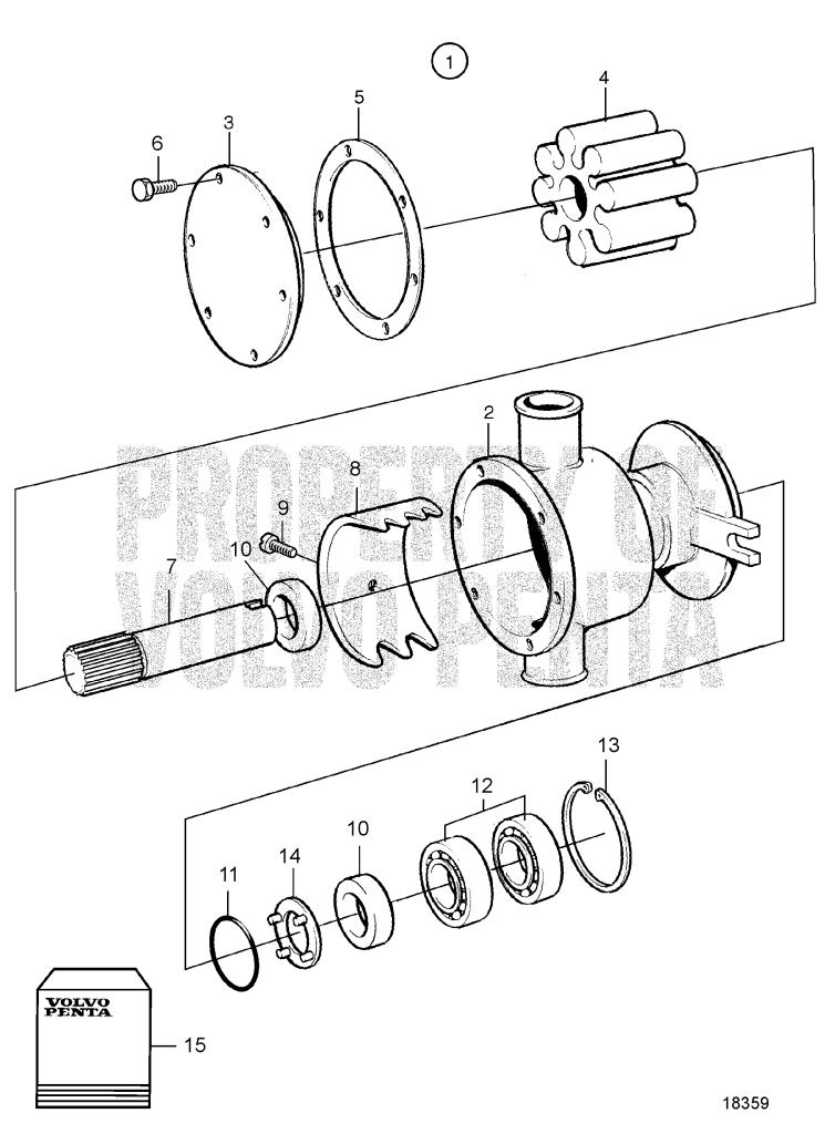 sea water pump ponents 861168 tamd41h a tamd41h b tamd41p a Volvo Penta Water Pump Diagram sea water pump ponents 861168