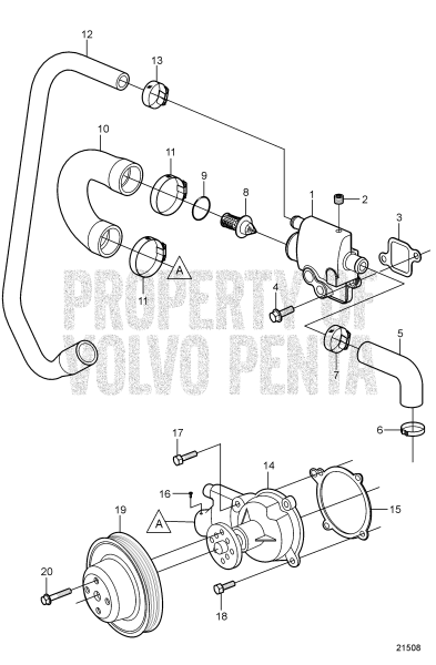 Circulation Pump And Thermostat Housing