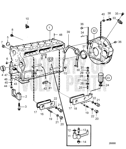 Cylinder Block And Flywheel Cover D41a Aqad41a Ad41a